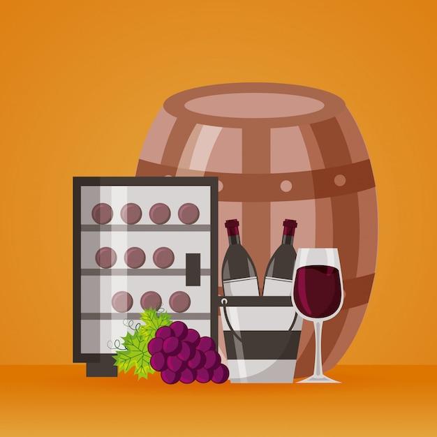 Bouteilles de vin seau à glace réfrigérateur tasse et raisins Vecteur gratuit