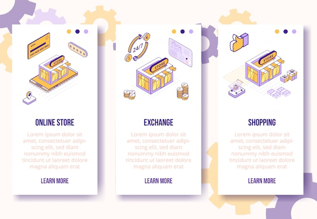 Boutique en ligne de concept de design isométrique numérique, échange, modèle de bannières verticales shopping application mobile écran Vecteur Premium