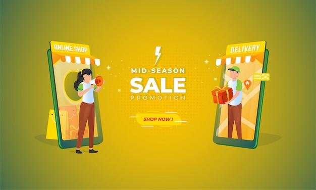 Boutique En Ligne Et Illustration De Livraison Avec Concept De Vente De Mi-saison Pour Les Bannières De Commerce électronique Vecteur Premium