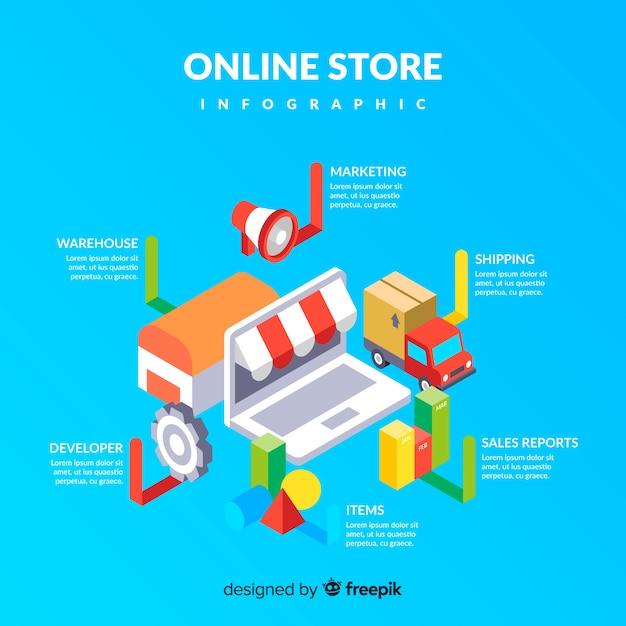 Boutique en ligne d'infographie isométrique Vecteur gratuit