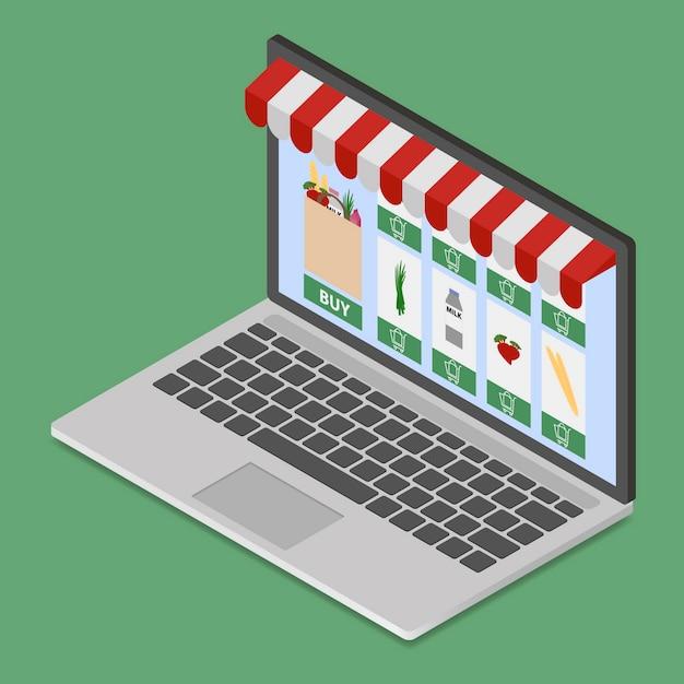 Boutique en ligne sur ordinateur portable moderne Vecteur Premium