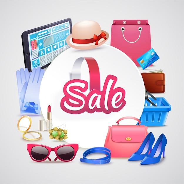 Boutique en ligne ronde composition Vecteur gratuit