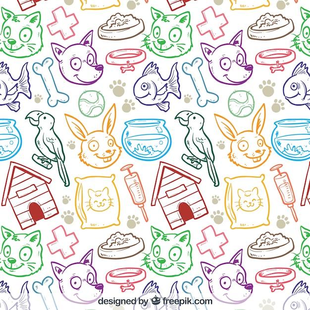 Boutique motif animal dessiné à la main Vecteur gratuit