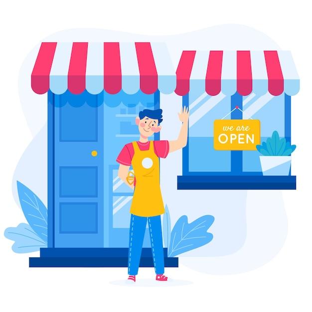 Boutique Avec Panneau Ouvert Vecteur gratuit