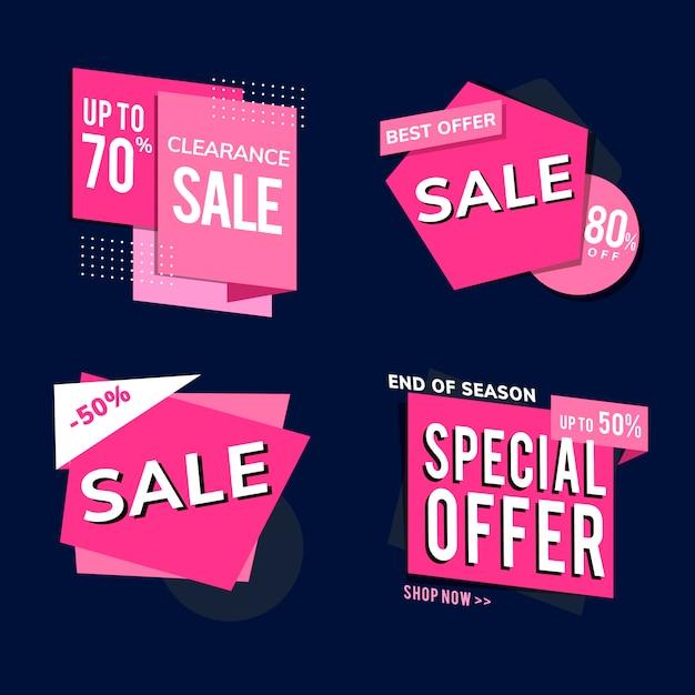 Boutique vente promotion annonces set vector Vecteur gratuit