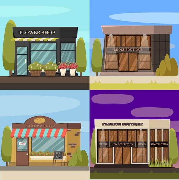Boutiques concept icons set Vecteur gratuit