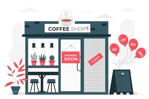 Boutiques Rouvrant Bientôt Illustration De Concept Vecteur gratuit
