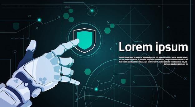 Bouton de bouclier tactile main tactile sur écran numérique concept de protection des données bannière Vecteur Premium