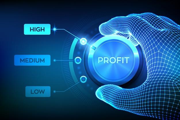 Bouton de commande des niveaux de profit. augmentation du niveau de profit. bouton de profit, réglage de l'aiguille filaire en position la plus haute. Vecteur Premium