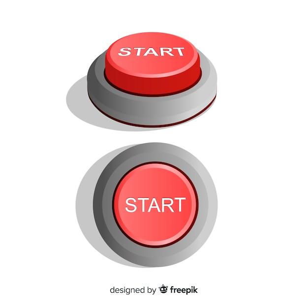 Bouton de démarrage plat rouge Vecteur gratuit