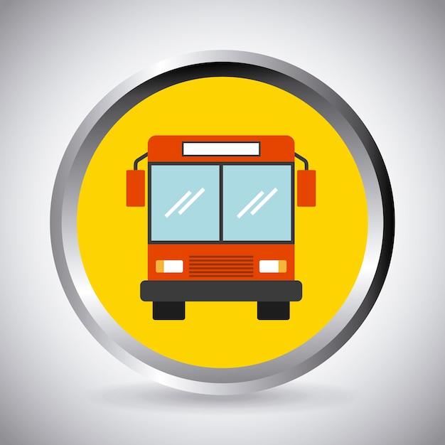 Bouton Avec L'icône Du Véhicule Bus Vecteur Premium