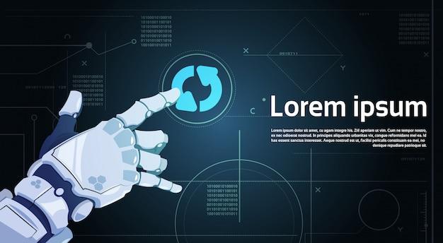 Bouton de mise à jour du système tactile de main de robot sur la bannière d'écran numérique avec espace de copie Vecteur Premium