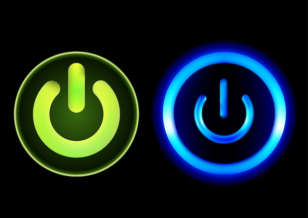 Bouton-poussoir power in green and blue Vecteur Premium