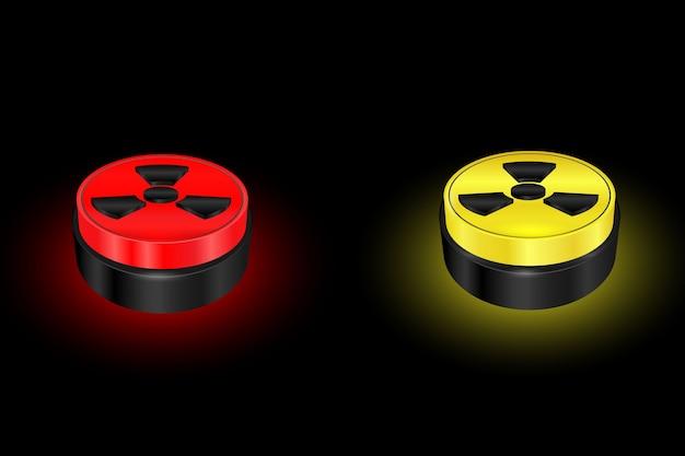 Bouton De Symbole De Rayonnement, Panneau D'avertissement, Nucléaire, Danger Vecteur Premium