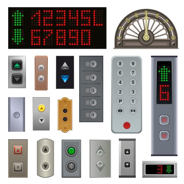 Boutons D'ascenseur Vectoriel Métal Bouton Poussoir D'ascenseur Vers Le Haut Sur Les Numéros De Panneau De Commande Numérique Vecteur Premium