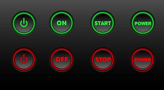 Boutons au néon. power on glowing vector icon set Vecteur Premium