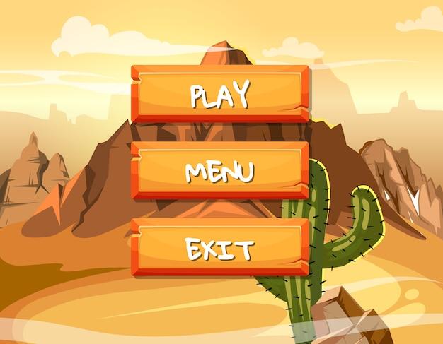 Boutons en bois de style dessin animé avec texte pour la conception de jeux sur des morceaux de gâteau Vecteur Premium