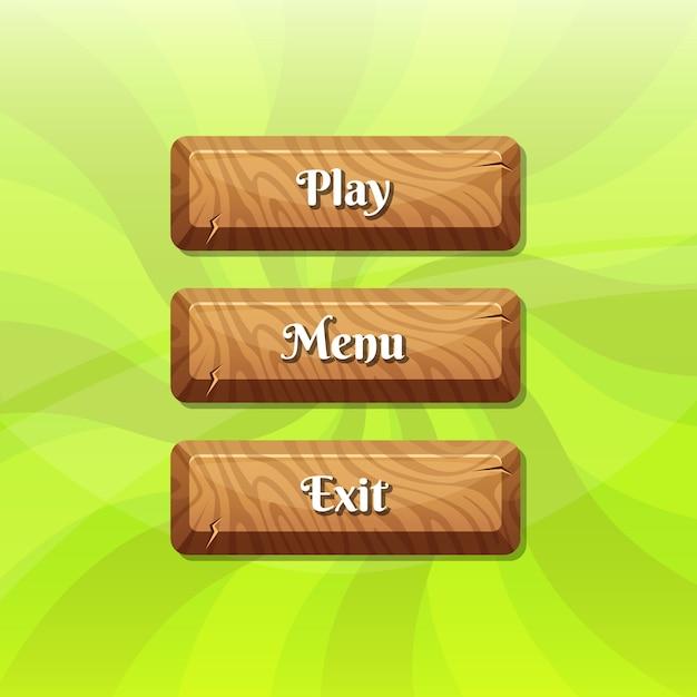 Boutons en bois de style dessin animé avec texte pour la conception de jeux Vecteur Premium