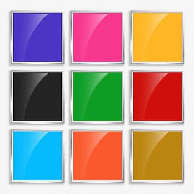Boutons carrés brillants brillants avec cadre en métal Vecteur gratuit