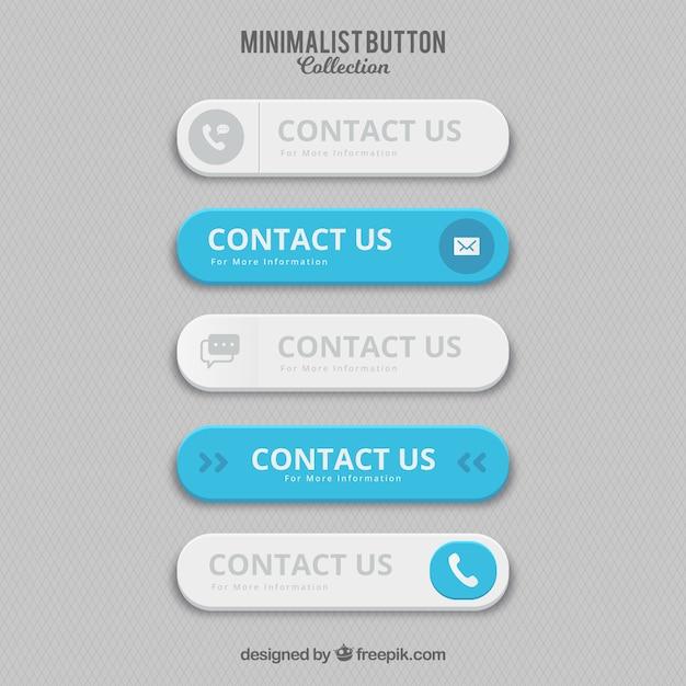 Boutons De Contact Minimaliste Vecteur gratuit