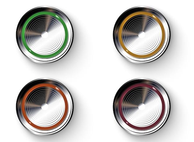 Boutons de couleur avec des bordures métalliques. Vecteur Premium
