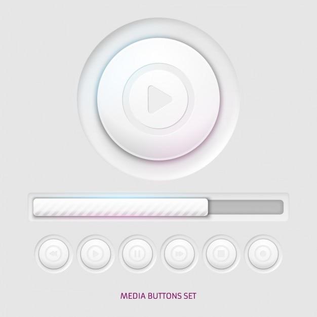 Les boutons du lecteur media Vecteur gratuit
