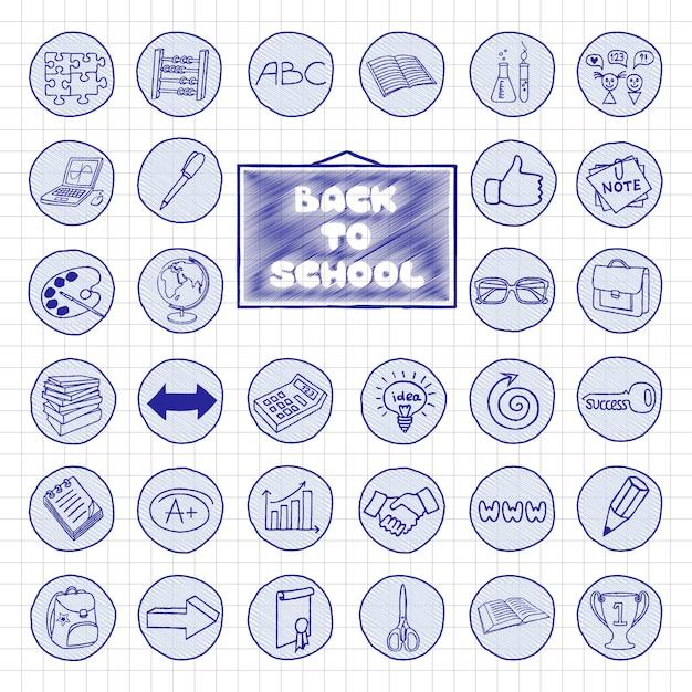 Boutons d'école doodle Vecteur Premium