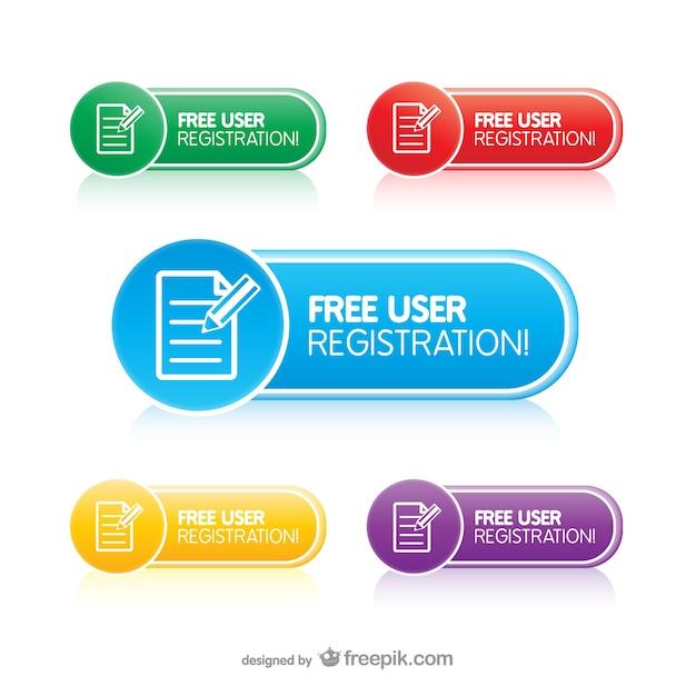 Boutons d'enregistrement de l'utilisateur Vecteur gratuit