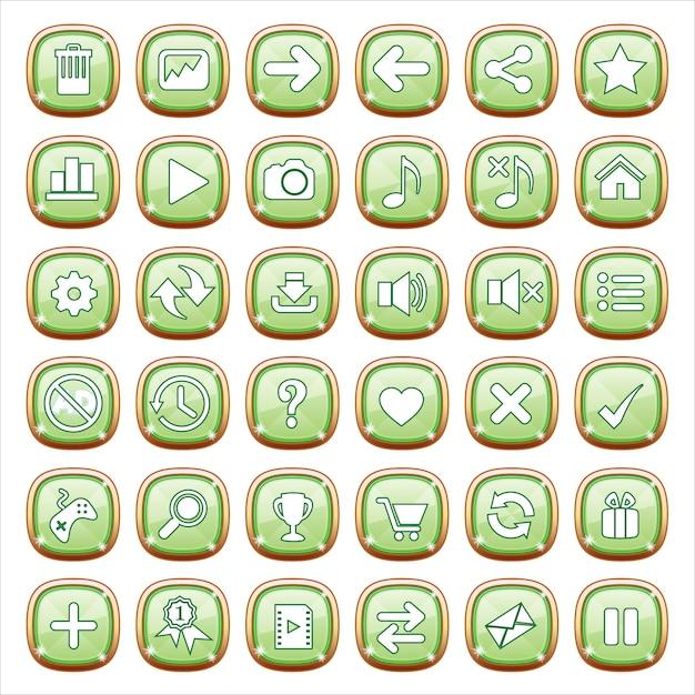 Boutons gui bijoux sur feu vert. Vecteur Premium