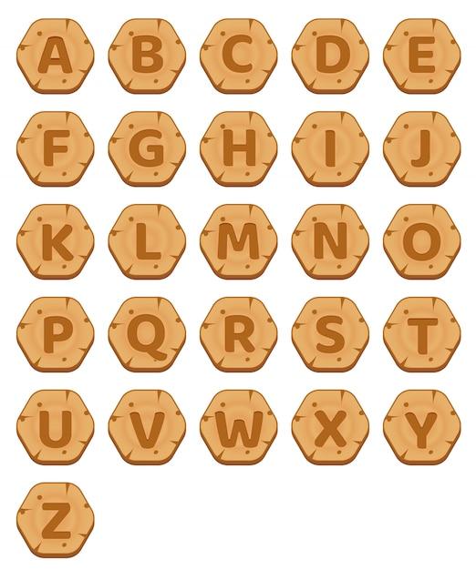 Boutons d'hexagone en bois az jeu de mots alphabet. Vecteur Premium