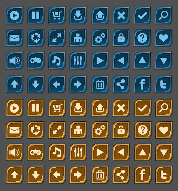 Boutons D'interface Définis Pour Les Jeux Ou Applications Spatiales Vecteur Premium