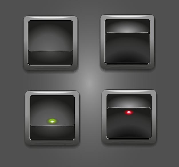 Boutons Noirs Commutateurs Avec Illustration D'indicateur Carré Rouge Et Vert Vecteur Premium