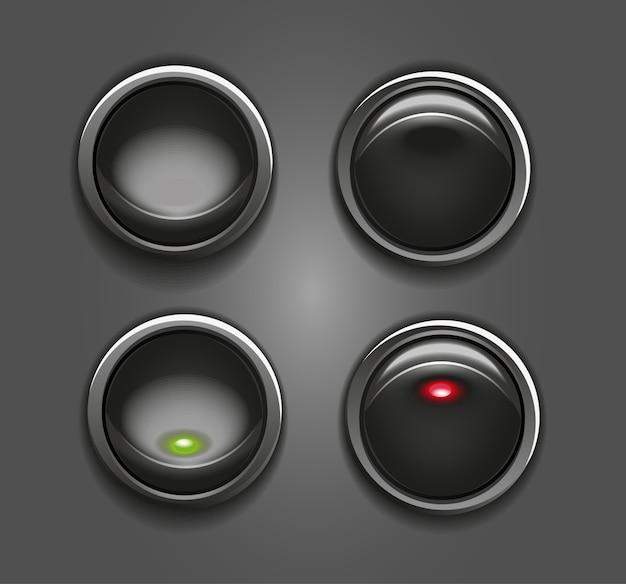 Boutons Noirs Commutateurs Avec Illustration D'indicateur Rond Rouge Et Vert Vecteur Premium