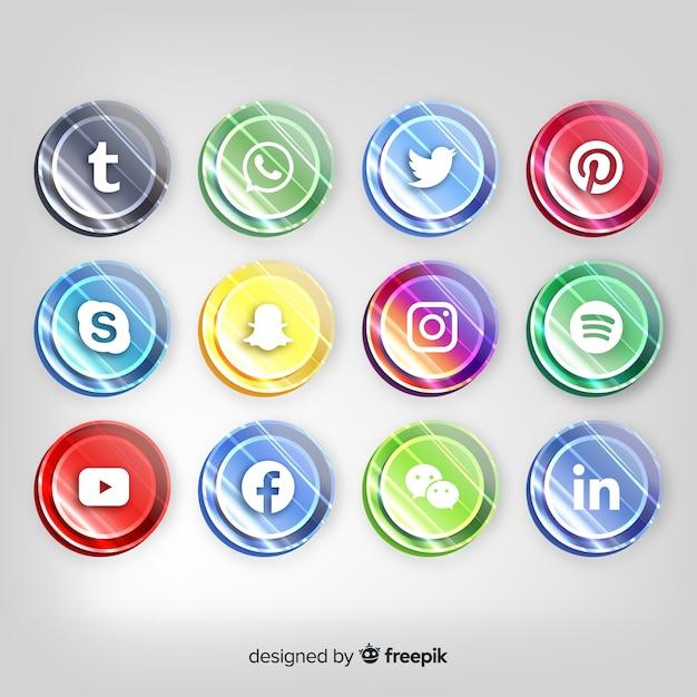Boutons Réalistes Avec Collection De Logos De Médias Sociaux Vecteur gratuit