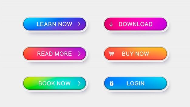 Boutons vecteur à la mode pour la conception web. Vecteur Premium
