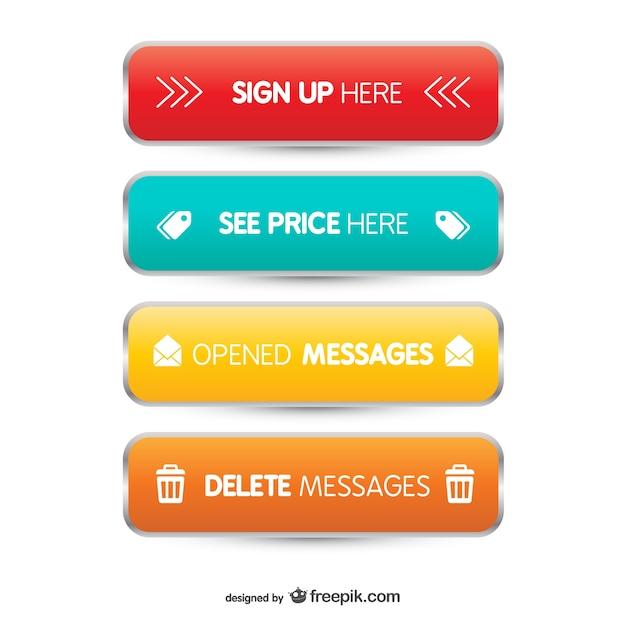 Boutons web 3d Vecteur gratuit