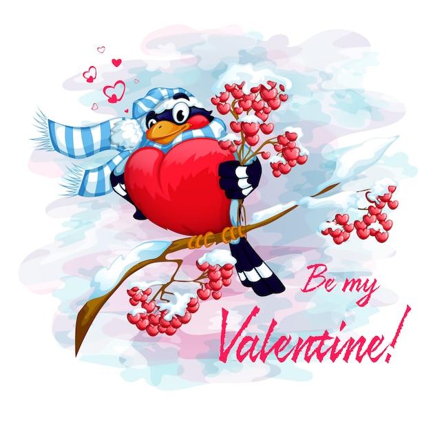 Bouvreuil sur une branche avec un bouquet de cendre de montagne. carte de saint valentin. Vecteur Premium