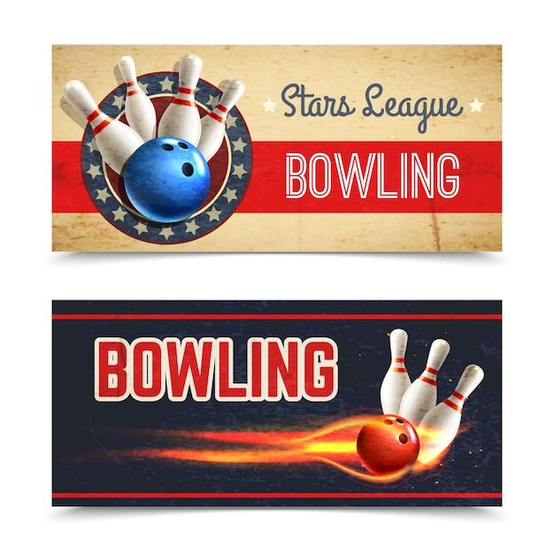 Bowling banner set Vecteur gratuit