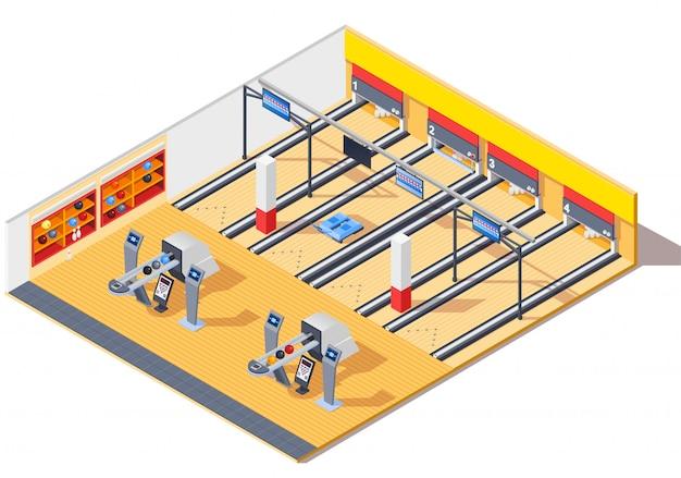 Bowling club design intérieur isométrique Vecteur gratuit