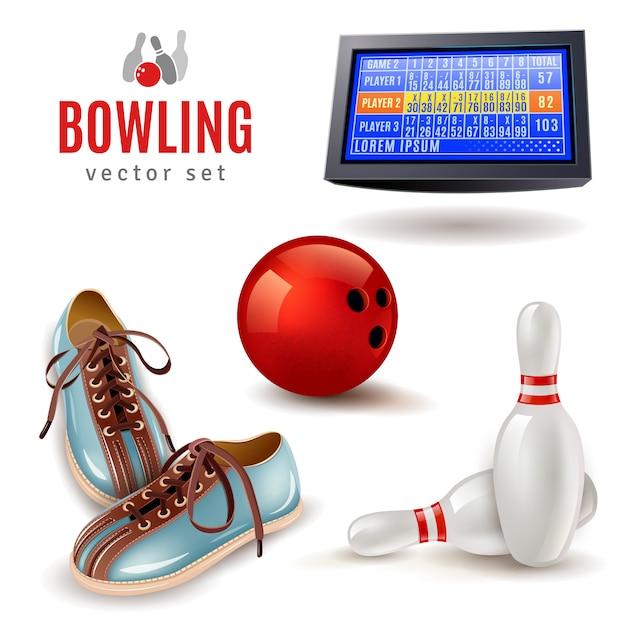 Bowling icons set Vecteur gratuit