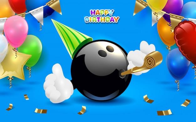Bowling joyeux anniversaire Vecteur Premium