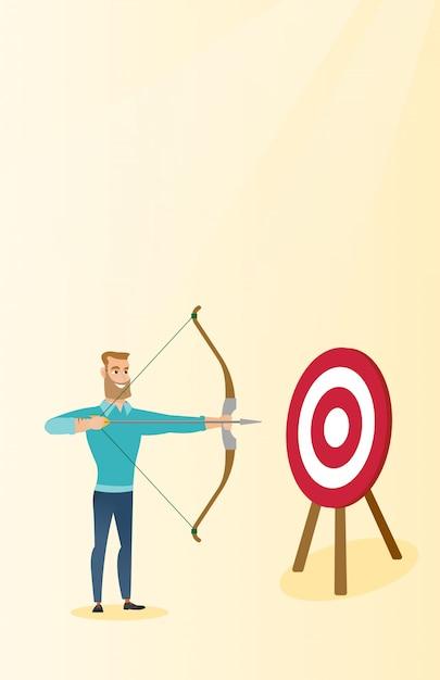 Bowman visant avec un arc et une flèche sur la cible. Vecteur Premium