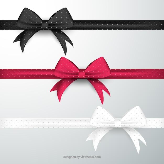 Bows en différentes couleurs Vecteur gratuit