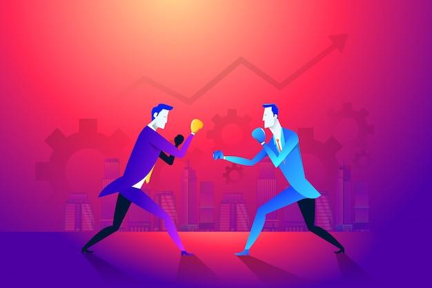 Boxe et gant, hommes d'affaires et violence, force du boxeur. Vecteur Premium