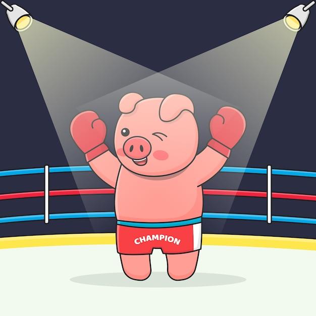 Boxer Cochon Mignon Vecteur Premium