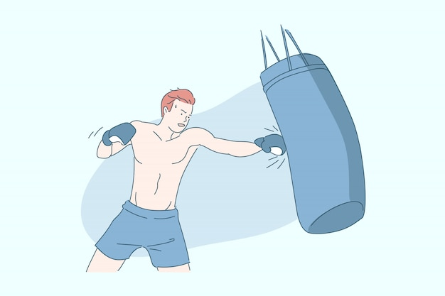 Boxer Avec Illustration De Sac De Boxe Vecteur Premium