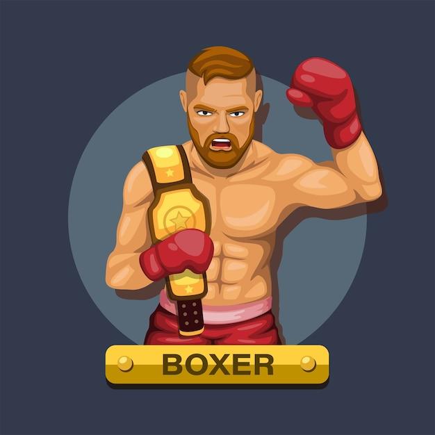 Boxeur, Athlète De Boxe Avec Concept De Personnage De Ceinture De Championnat Vecteur Premium