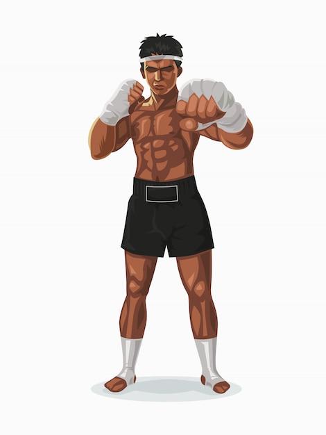 Boxeur De Thaïlande Dans La Pose De Combat, Illustration. Vecteur Premium