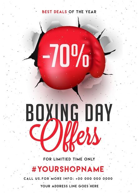 Boxing Day, Bannière De Vente, Affiche Ou Flyer Design Avec Offre De Réduction. Vecteur Premium