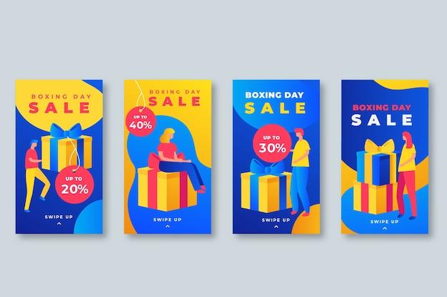 Boxing day sale instagram story collection Vecteur gratuit